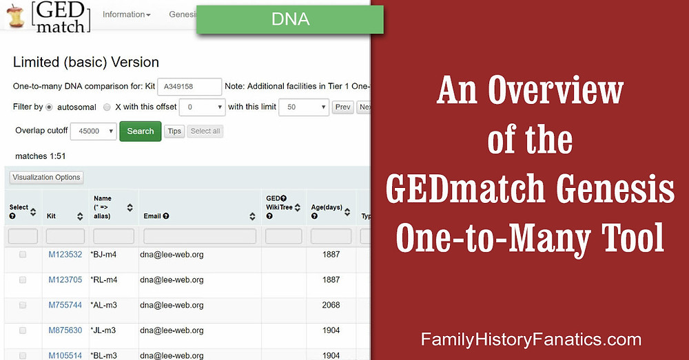 GEDmatch One-to-Many Tool