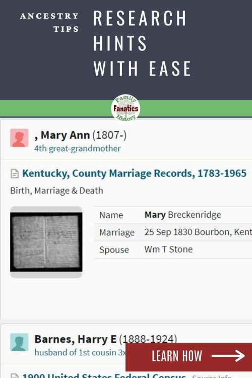"An ancestry record hint with title"" Researching Hints Ancestry Tips"