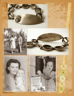 Gold and peach heritage scrapbook layout