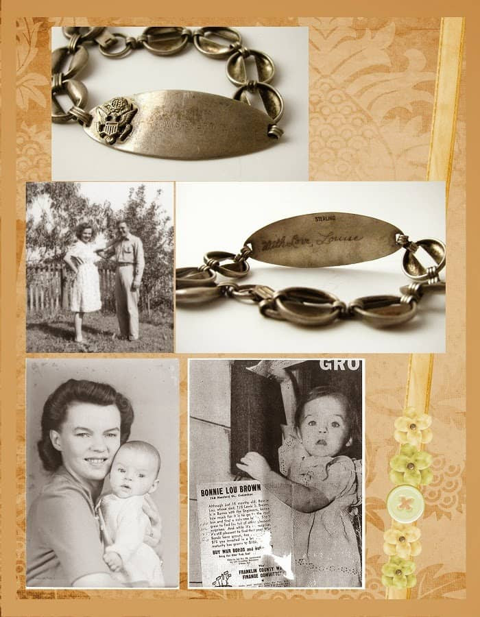 Peach and Green Heritage Scrapbook WWII Idea