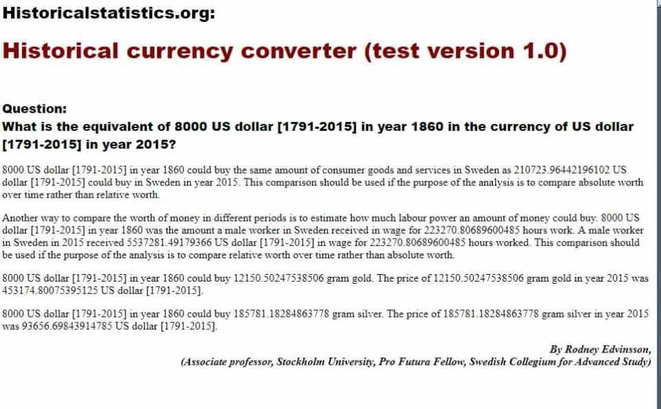 snapshot of Currency Converter on Historical Statistics
