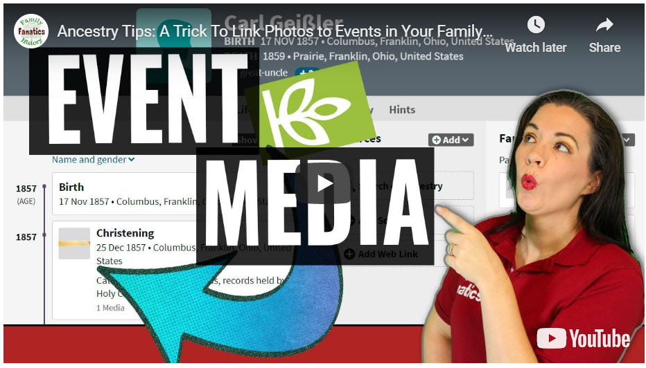 VIDEO: How to link media to events on Ancestry.com
