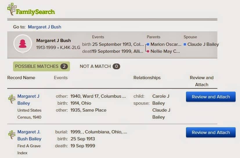 Familysearch Hint screen