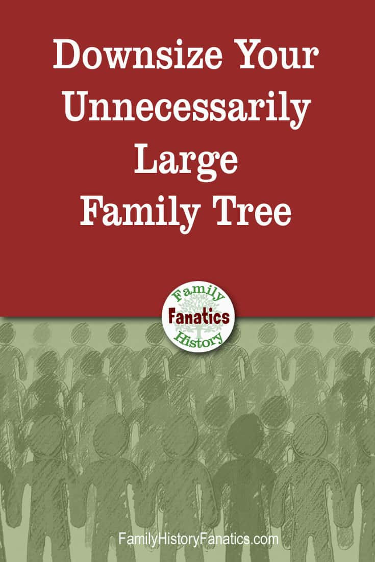 picture of a cluster of sketched people with caption Downsize Your Unnecessarily Large Family Tree
