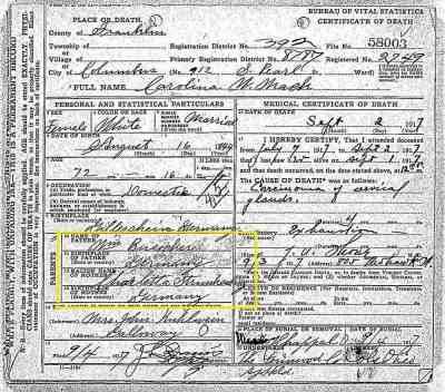 Carolina W Mack Death Record
