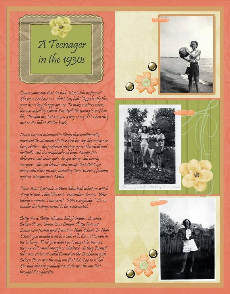 Peach and Green Heritage Scrapbook Layout Teenage years