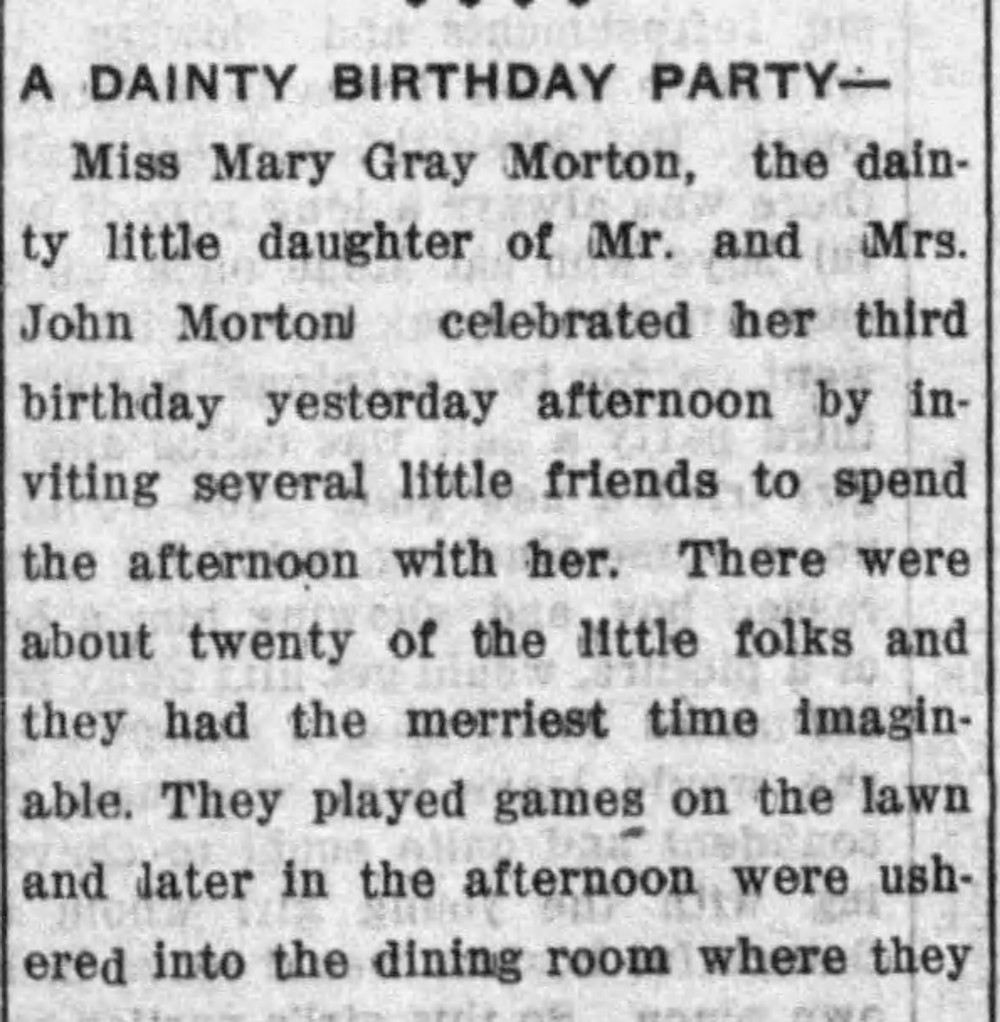 Newspaper clipping for a birthday party in Tuscaloosa, Alabama in 1913