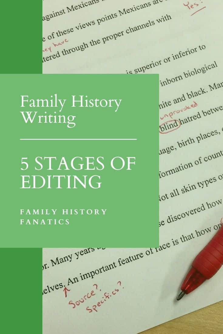 Red pen editing a family history