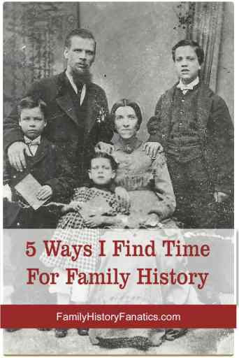 Vintage photo of family with title finding time for family history