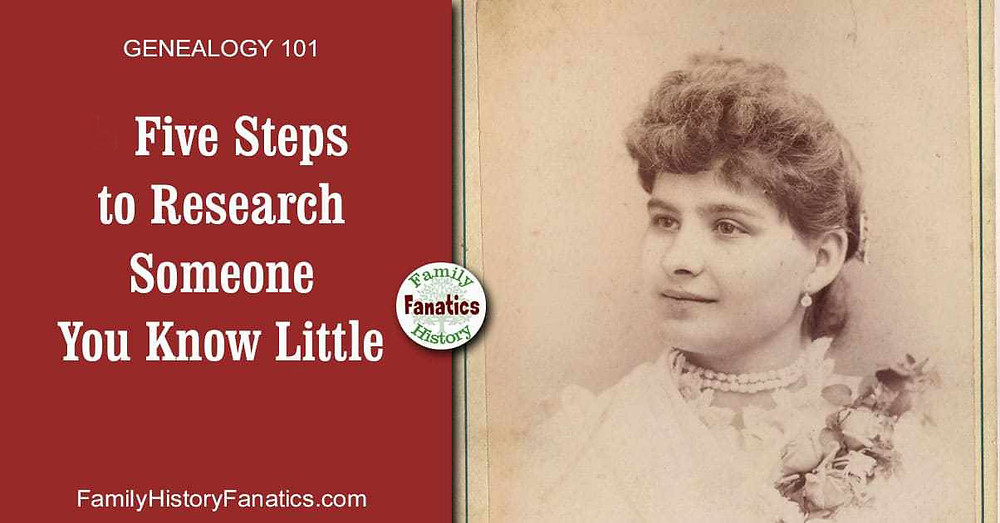 vintage photo of woman with prompt 5 steps to research someone you know little about