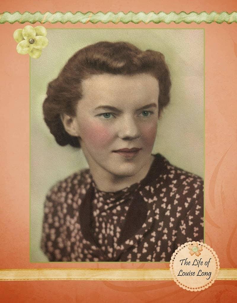 Vintage portrait of a woman on peach heritage scrapbook paper