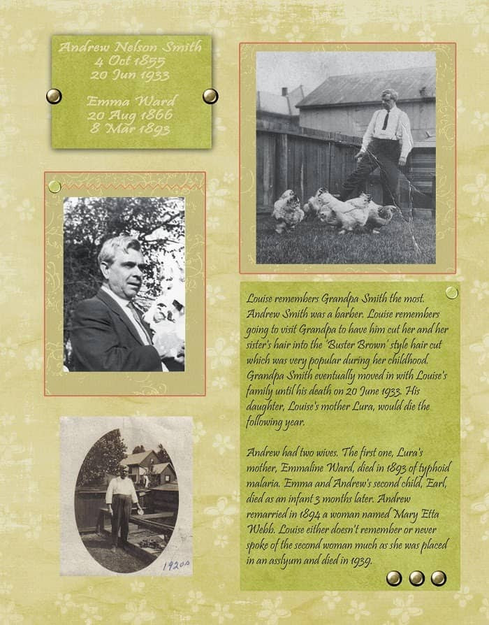 Peach and Green Heritage Scrapbook Layout about a grandfather