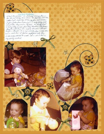 gold and black scrapbook page featuring 1970s photos