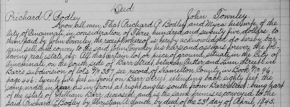 Richard Bodley Land Record sale to John Townley