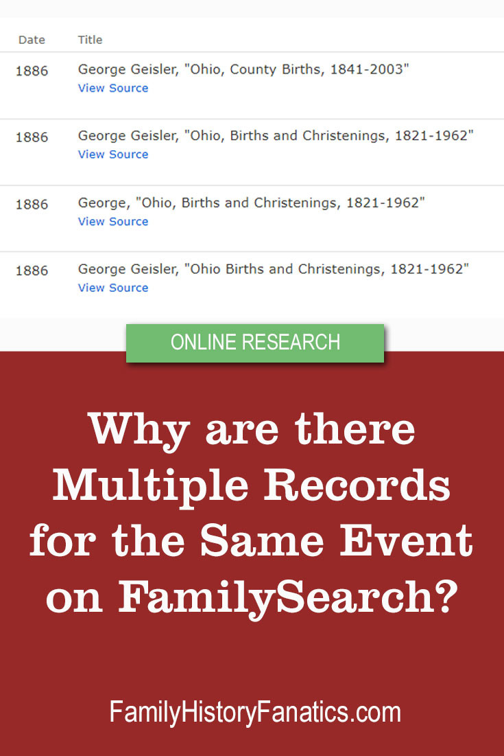 Why does it seem there are multiple copies of the same record for the same event on FamilySearch? #familysearch #familytree #genealogy