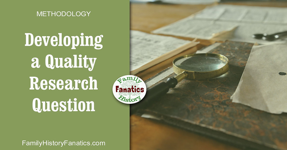 notes and magnifying glass with title developing a quality research question