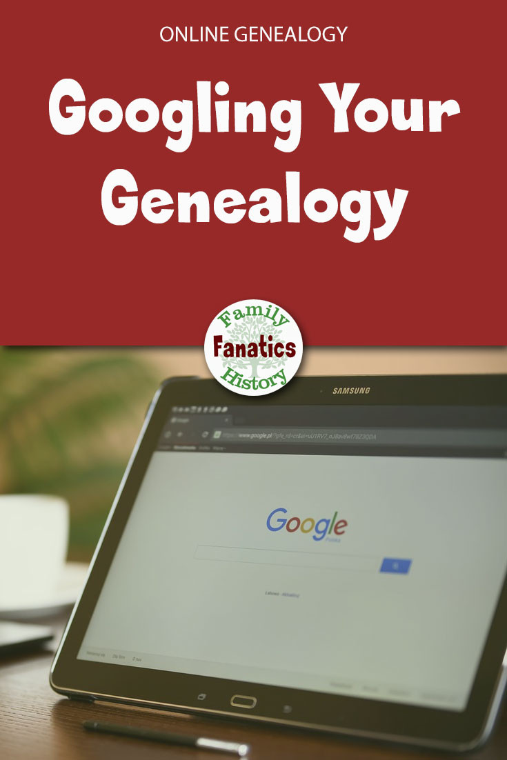 Laptop with Google on the screen. With Googling Your Genealogy below.
