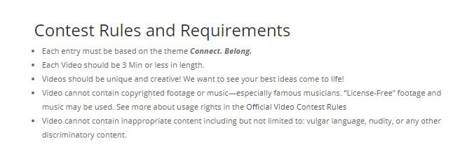 RootsTech Film Fest Prominent Rules
