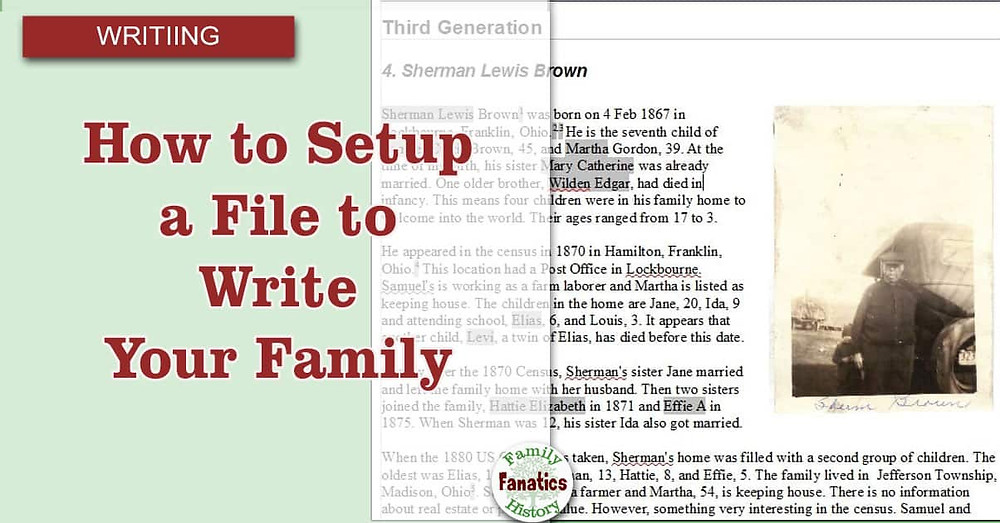 Set up a file to write your family history