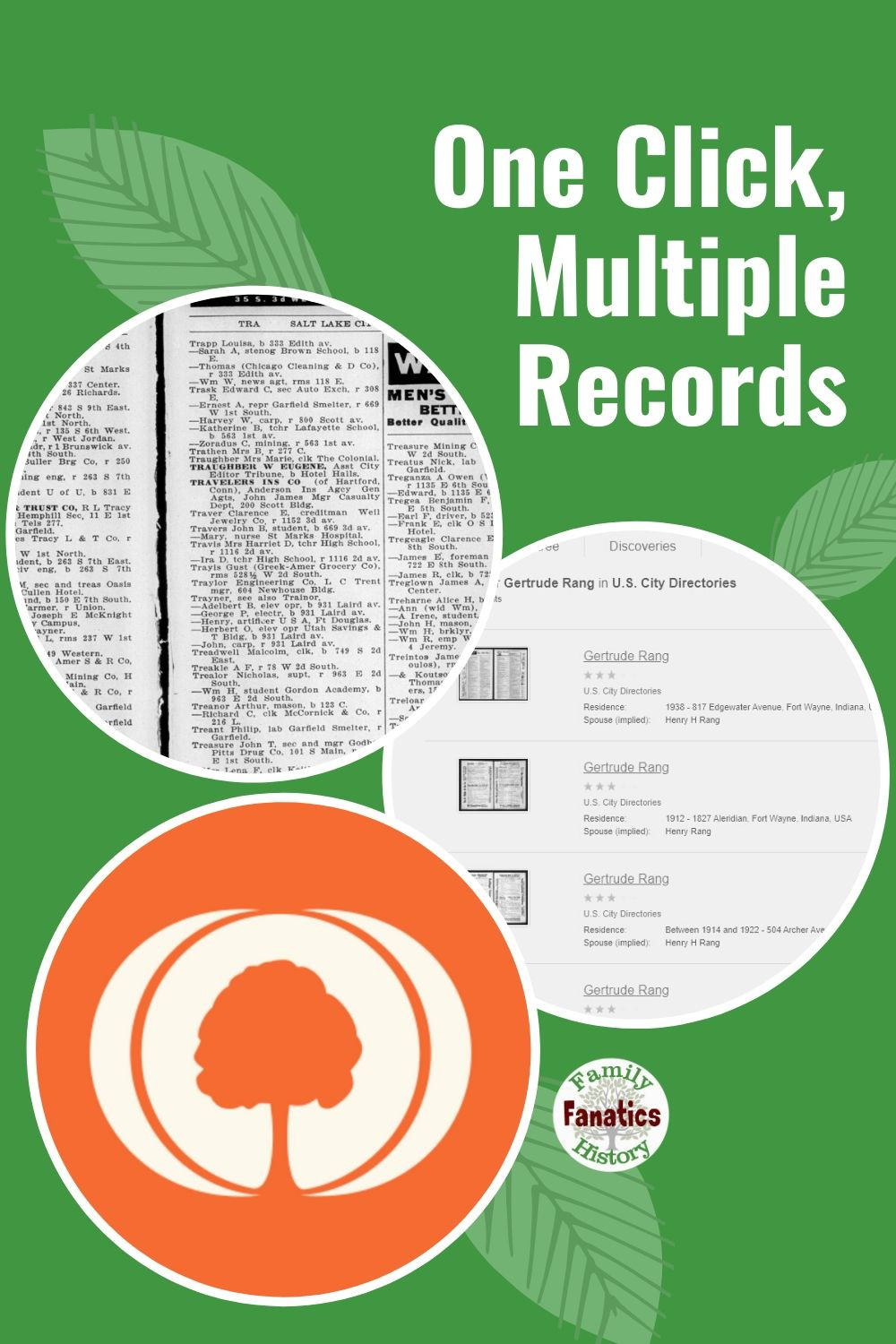 Three circles featuring the MyHeritage logo and two images from city directories and the title One Click Multiple Records