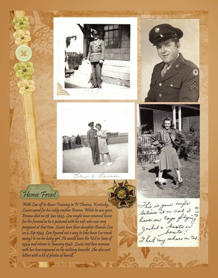 Peach and Green Heritage Scrapbook WWII Home Front Idea