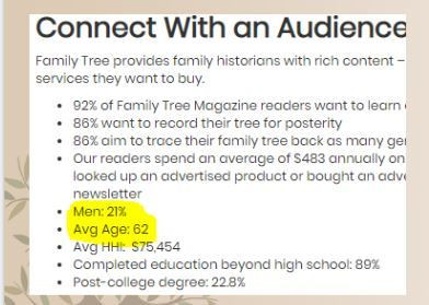2018 Family Tree Magazine Audience Demographics
