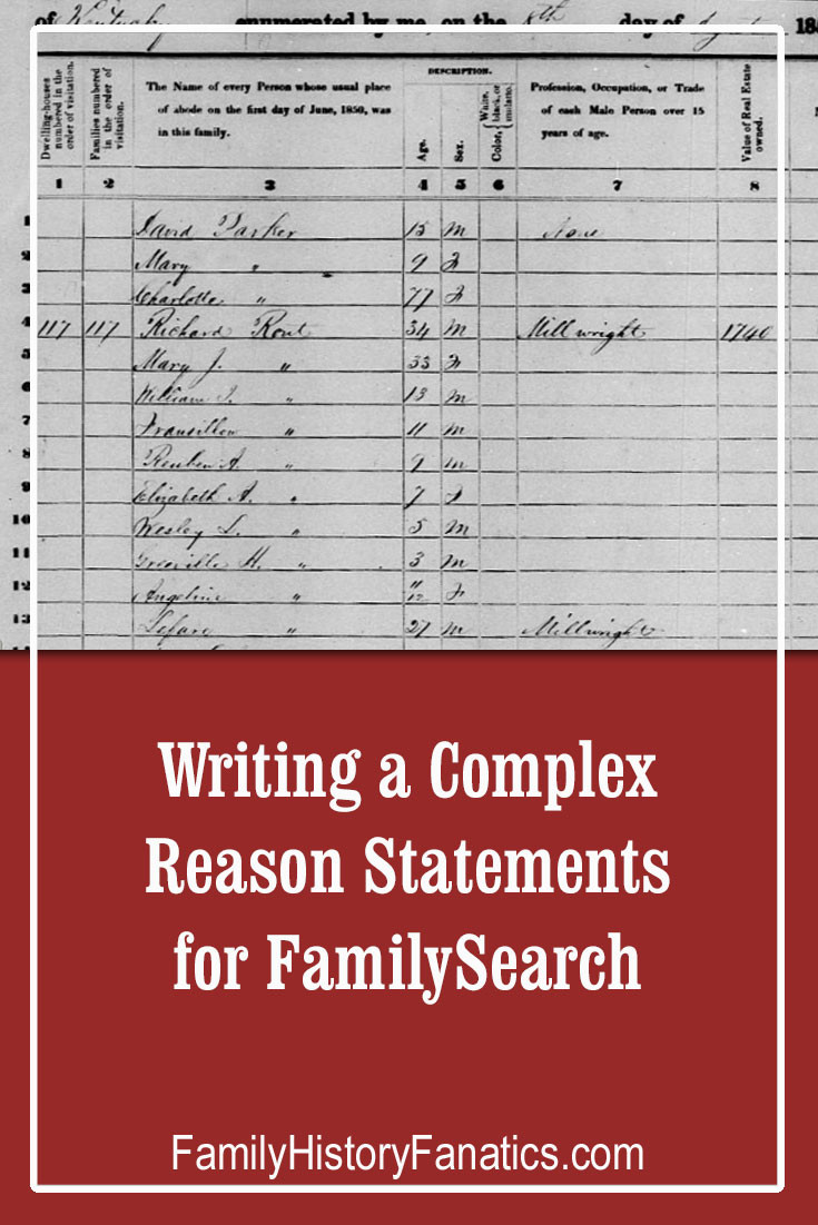Picture of a census record with the title Writing Complex Reason Statements for FamilySearch