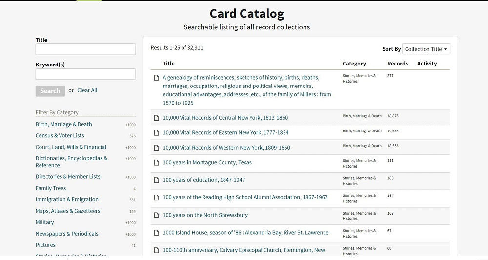 Screenshot of Ancestry Card Catalog page