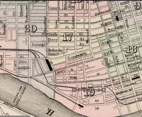 Map of southwest corner of Cincinnati in 1877