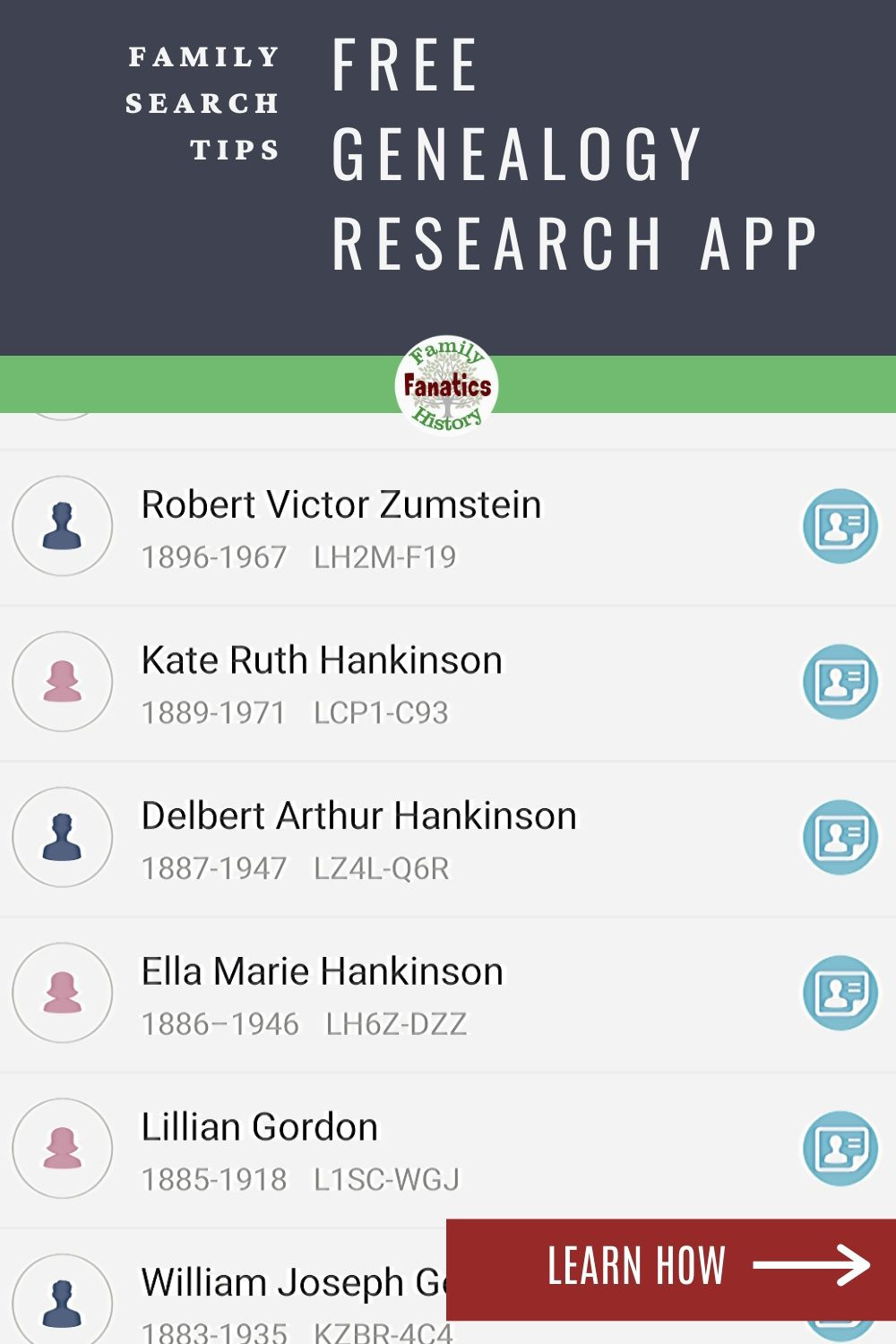 FamilySearch Hints with the title Mobile genealogy research