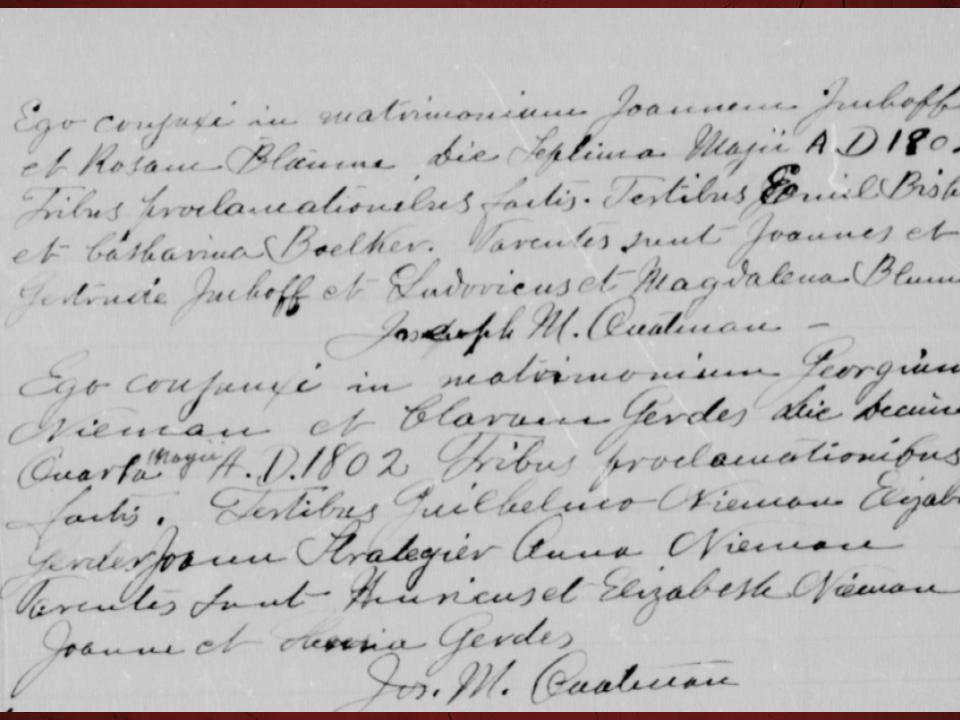 Screenshot of Roman Catholic Marriage Record in Latin