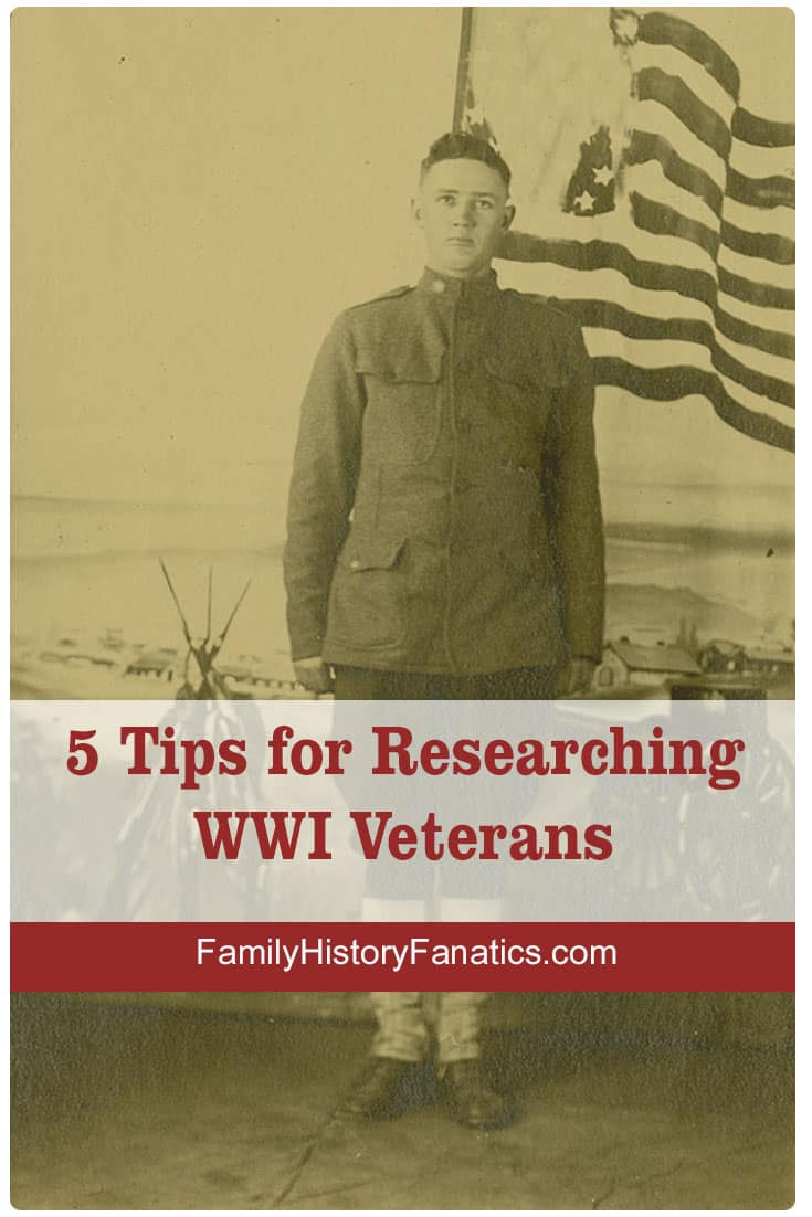 Find your the men and women in your family tree who served in WWI by following these tips. #genealogy #FHFanatics #FamilyHistoryFanatics #militaryresearch #usgenealogy
