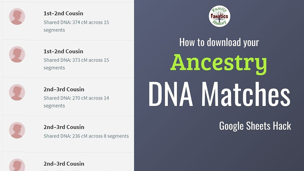 AncestryDNA Shared Matches with title how to download your DNA matches with Google Sheets Hack