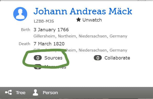 Snapshot of FamilySearch Family Tree Person with no sources