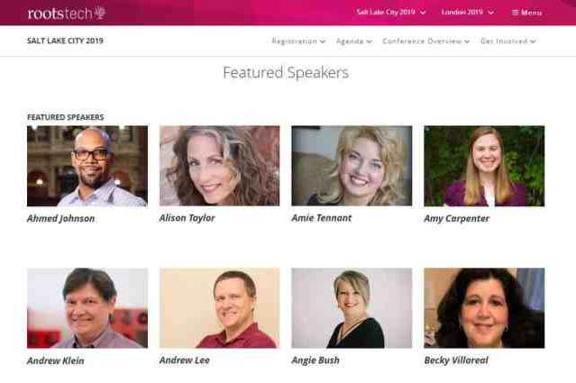 RootsTech Speakers Featured on Website