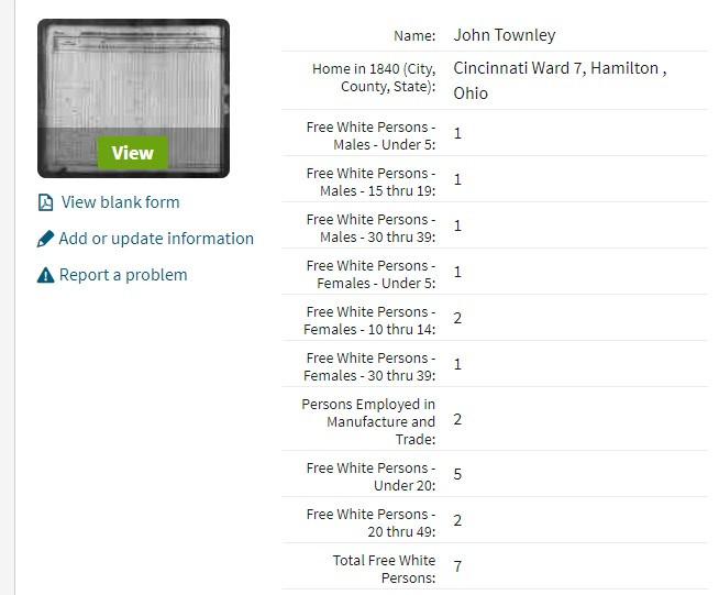 Household of John Townley in 1840 US census in Cincinnati, Ohio