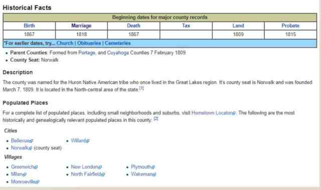 Snapshot of Huron County Ohio FamilySearch Wiki Page