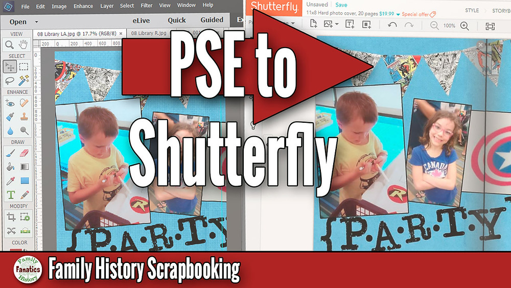 Scrapbook design with title photoshop elements to shutterfly