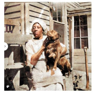 Colorized photo of mystery black woman who knew Evaline Peak's family.