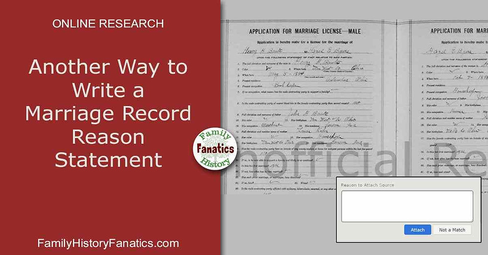 what to write in a FamilySearch reason box for a marriage record