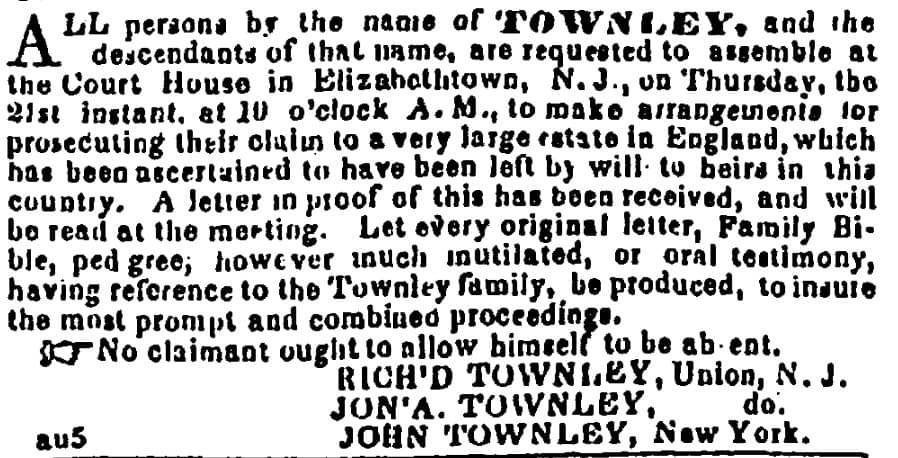 Townley Estate Meeting Elizabethtown, New Jersey August 1845