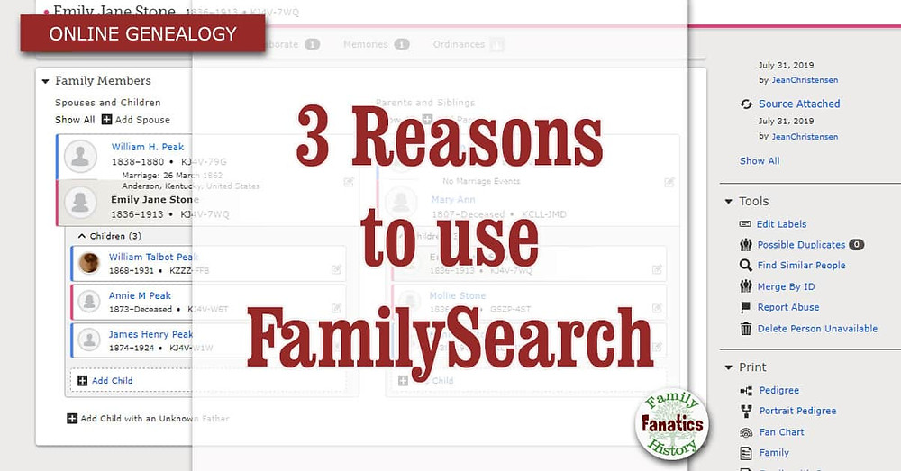 FamilySearch Website with title 3 reasons to use FamiliySearch