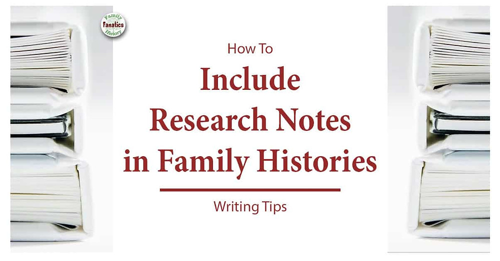 Stack of books with title how to include research notes to family histories