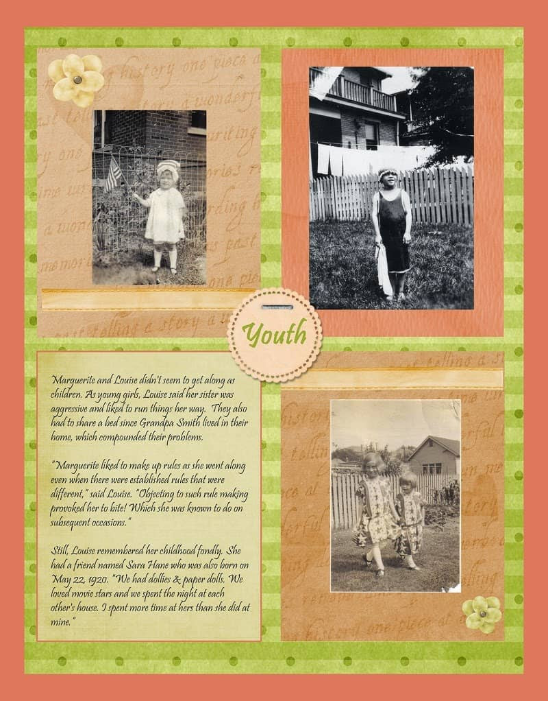 Peach and Green Heritage Scrapbook Layout about childhood