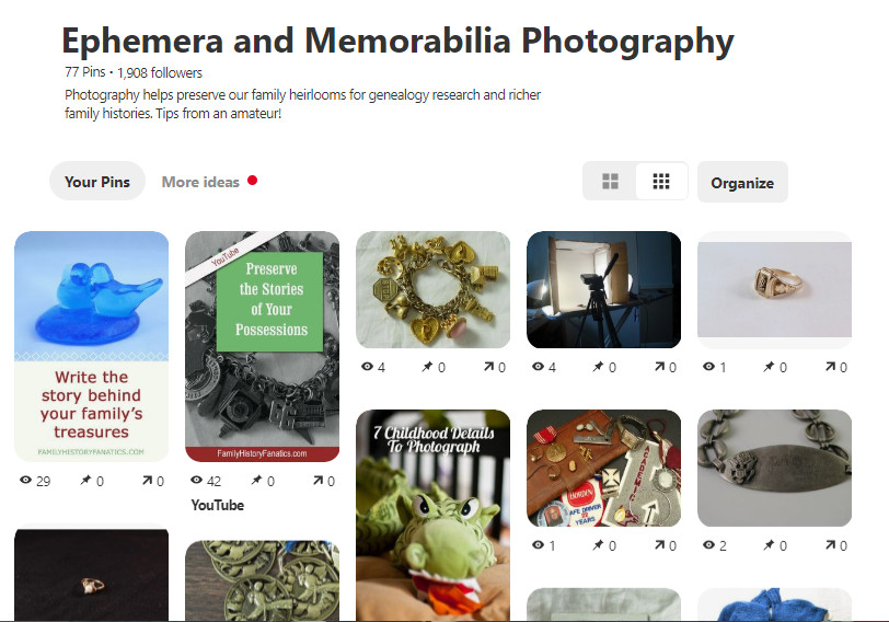 Snapshot of Pinterest Memorabilia Photography board