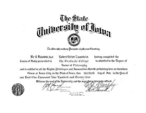 1924 University of Iowa Diploma for Robert Victor Zumstein #familyhistory