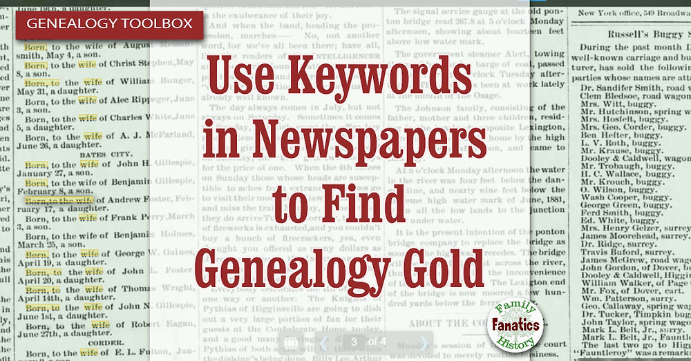 Use Keywords to do genealogy research in newspapers