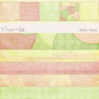 Peach and Green Heritage Scrapbook paper Kit