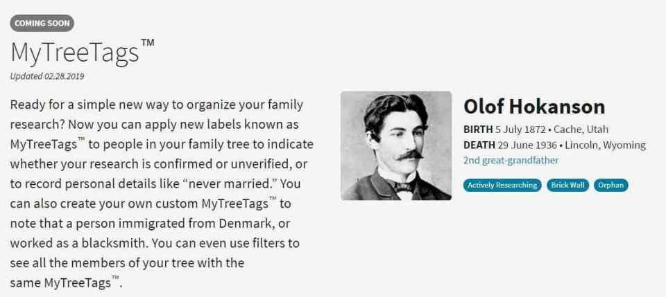 Ancestry TreeTags