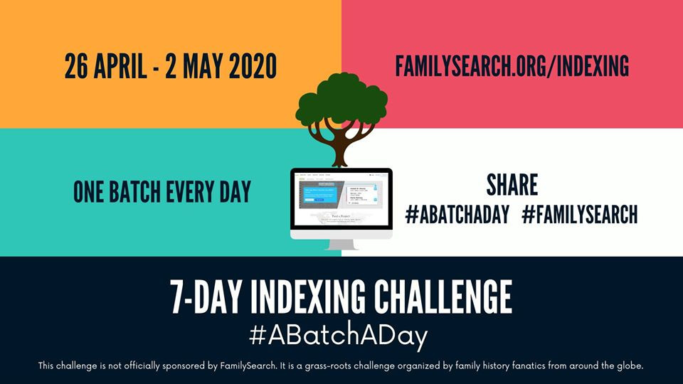 FamilySearch Indexing a Batch a Day Challenge